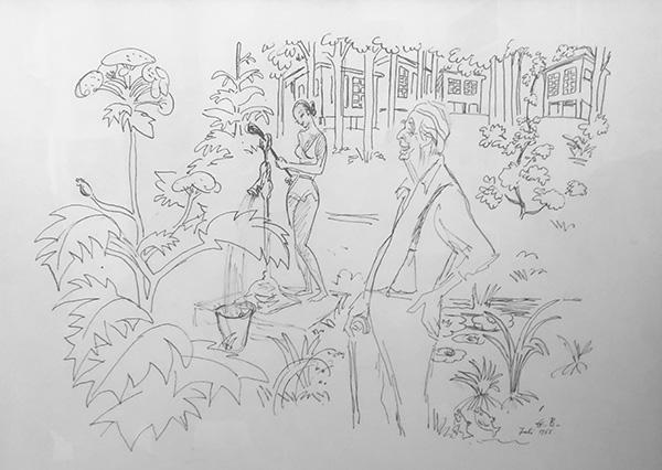Illustration med Ole Haslund i Ræveskiftet