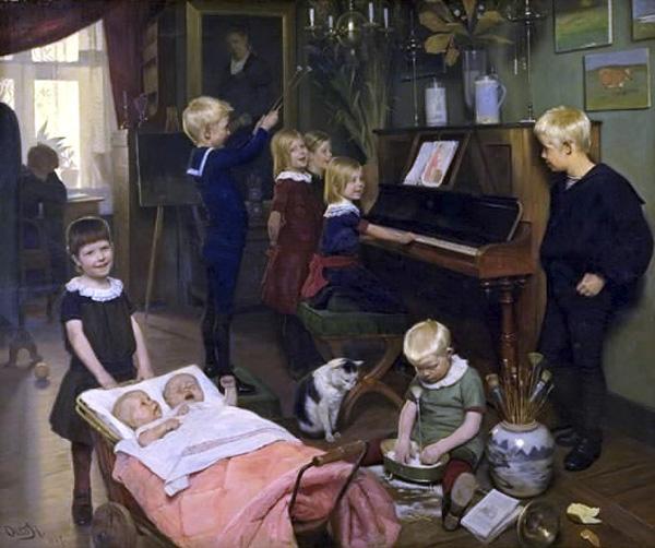 """""""Børnekoncerten"""" Otto Haslund, 1887, Statens Museum for kunst"""