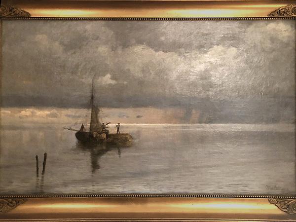 Strandmotiv med båd. Otto Haslund